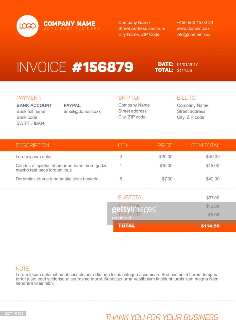 Orange invoice template