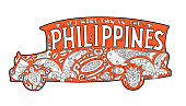 Orange jeepney with philippine ornament. Palm tree, whale shark, mask, turtle, halo-halo. Vector coloring page.