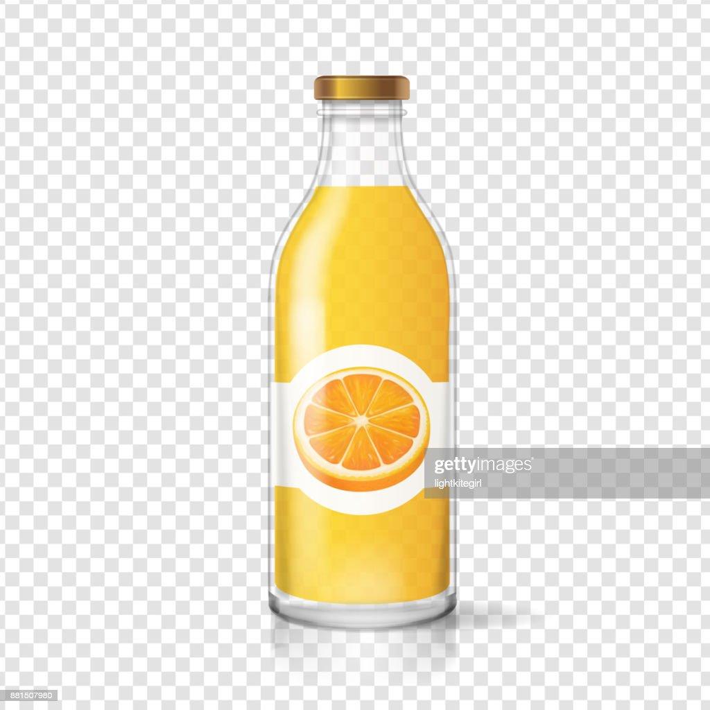 Orange juice bottle glas with juice label. Fruit beverage packaging. Realistoc vector