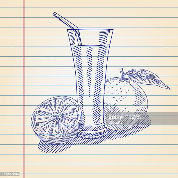 orange juice drawing on lined paper - orange juice stock illustrations, clip art, cartoons, & icons