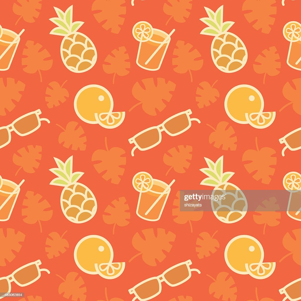 Orange juice, pineapple, orange, sunglasses, palm leaves. Seamle