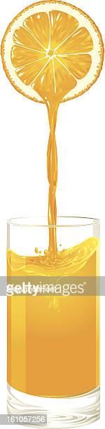 orange juice pouring into a glas - fruit juice stock illustrations, clip art, cartoons, & icons