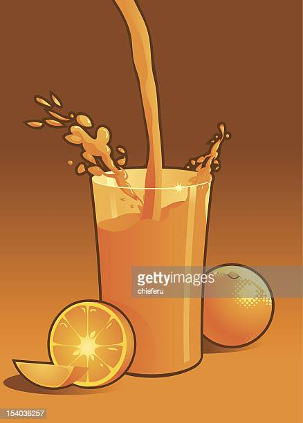 orange juice splash - juice drink stock illustrations, clip art, cartoons, & icons
