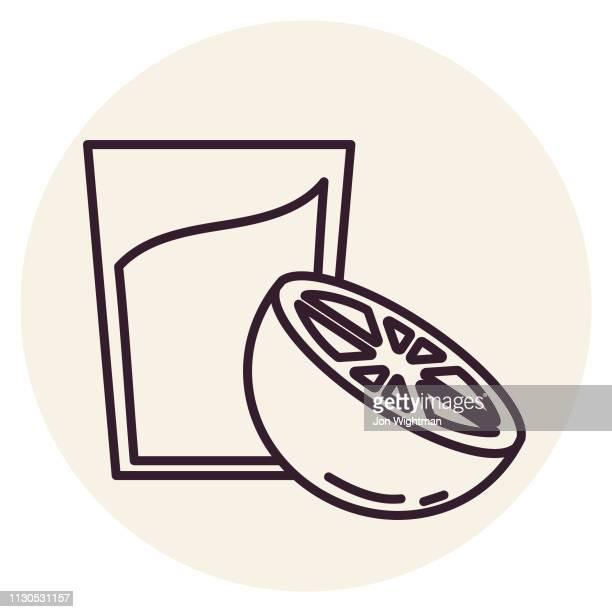 orange juice - thin line breakfast icon - orange juice stock illustrations, clip art, cartoons, & icons