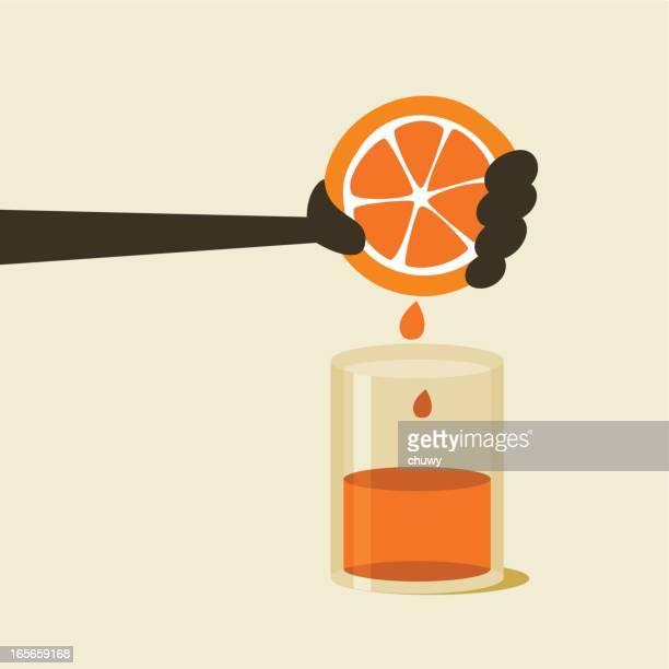 orange juice - squeezing stock illustrations