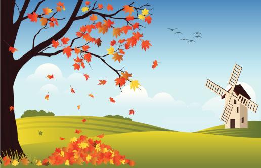 Orange leaves falling off tree in fall with windmill in rear - gettyimageskorea