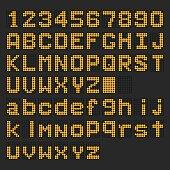 Orange LED digital english uppercase, lowercase font, number display on black background