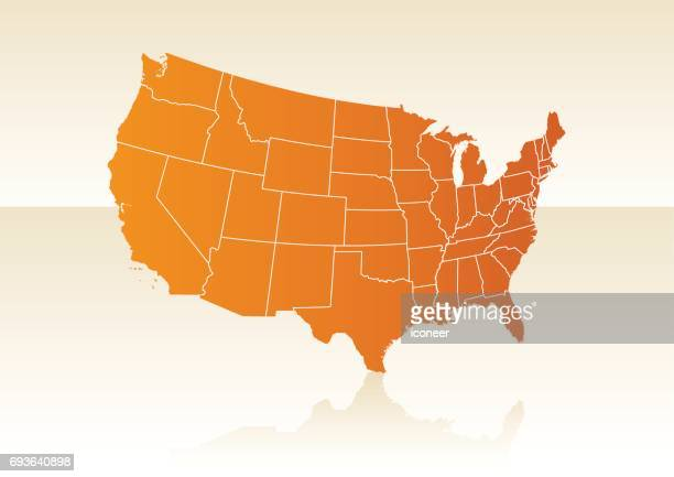 USA orange map on beige background