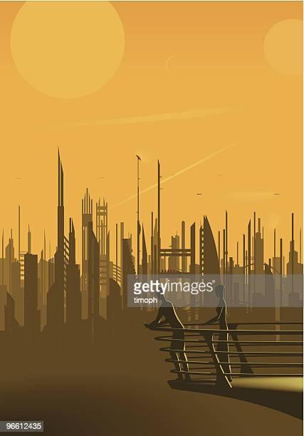 ilustrações, clipart, desenhos animados e ícones de metrópole de laranja - futurista
