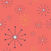 Orange Mid-Century snowflakes pattern