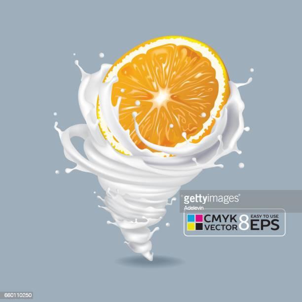 orange milk tornado - vortex stock illustrations, clip art, cartoons, & icons