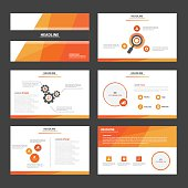 Orange multipurpose presentation Templates flat design set for brochure