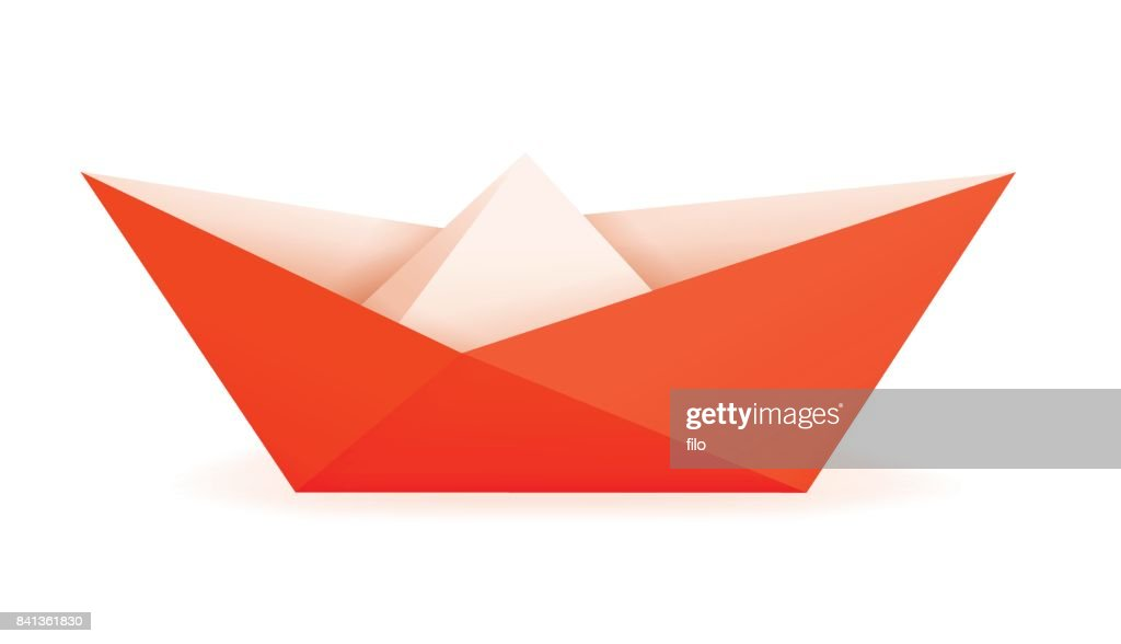 Orange Paper Origami Boat