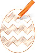 Orange Pencil Shading Easter Egg with Zigzags