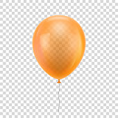 Orange realistic balloon.