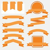 Orange Ribbons Set isolated On White Background. Vector Illustration