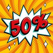 Orange sale web banner. Pop art comic sale discount promotion banner. Big sale background. Sale Fifty 50 off on a Comics pop-art style bang shape on orange twisted background. Seasonal discounts, Black Friday, the interest rate, etc