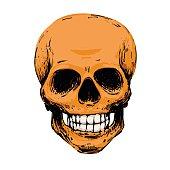 Orange scary skull