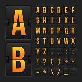 Orange scoreboard style letters and symbols