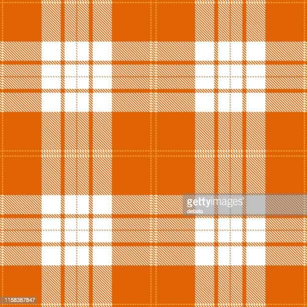 orange scottish tartan plaid textile pattern - scottish tweed stock illustrations, clip art, cartoons, & icons