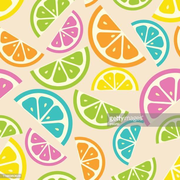 orange seamless pattern . - citrus fruit stock illustrations, clip art, cartoons, & icons