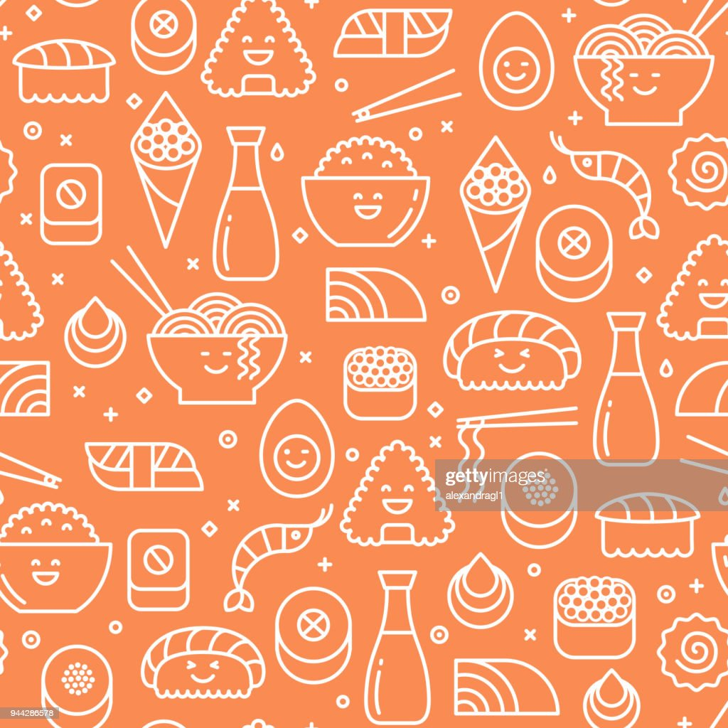 Orange seamless pattern with Japanese cuisine