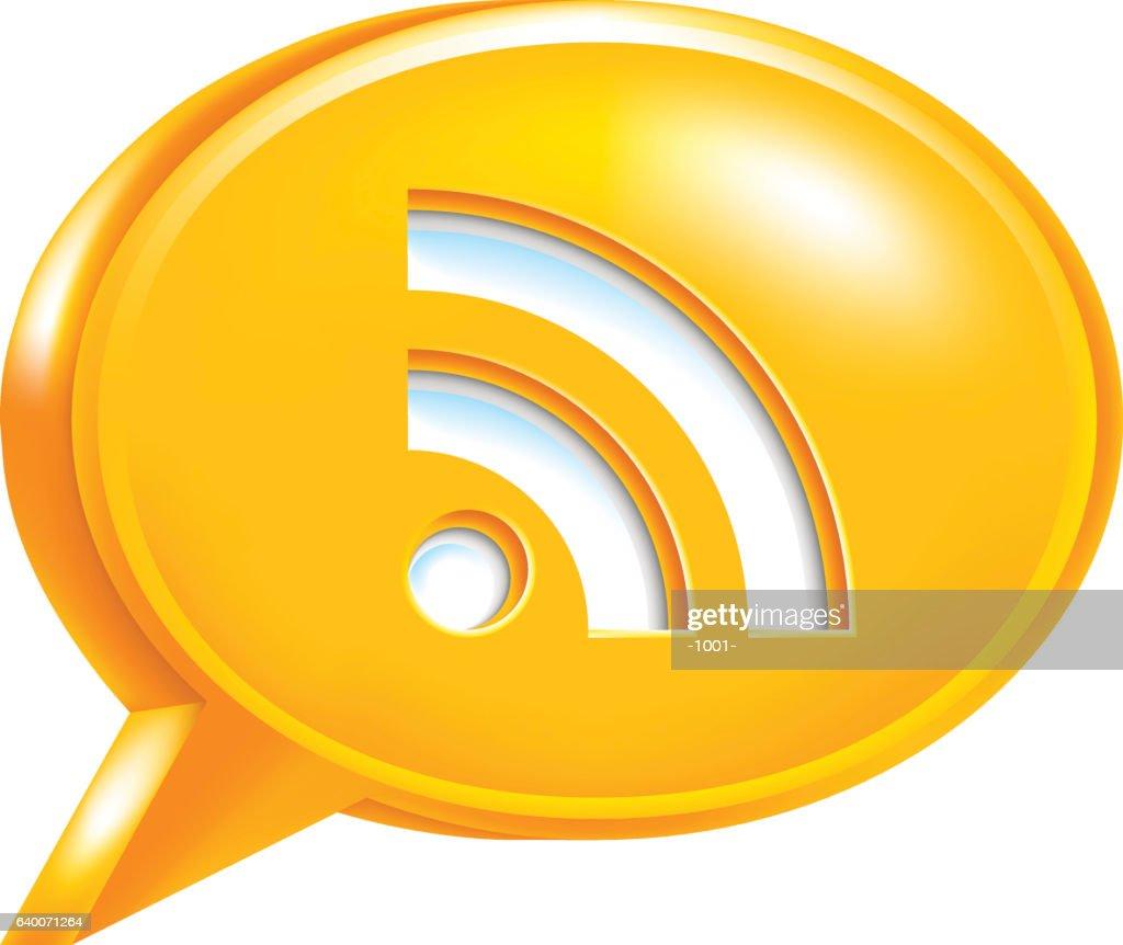 Orange Speech Bubble Icon RSS Sign or Wi-Fi Signal
