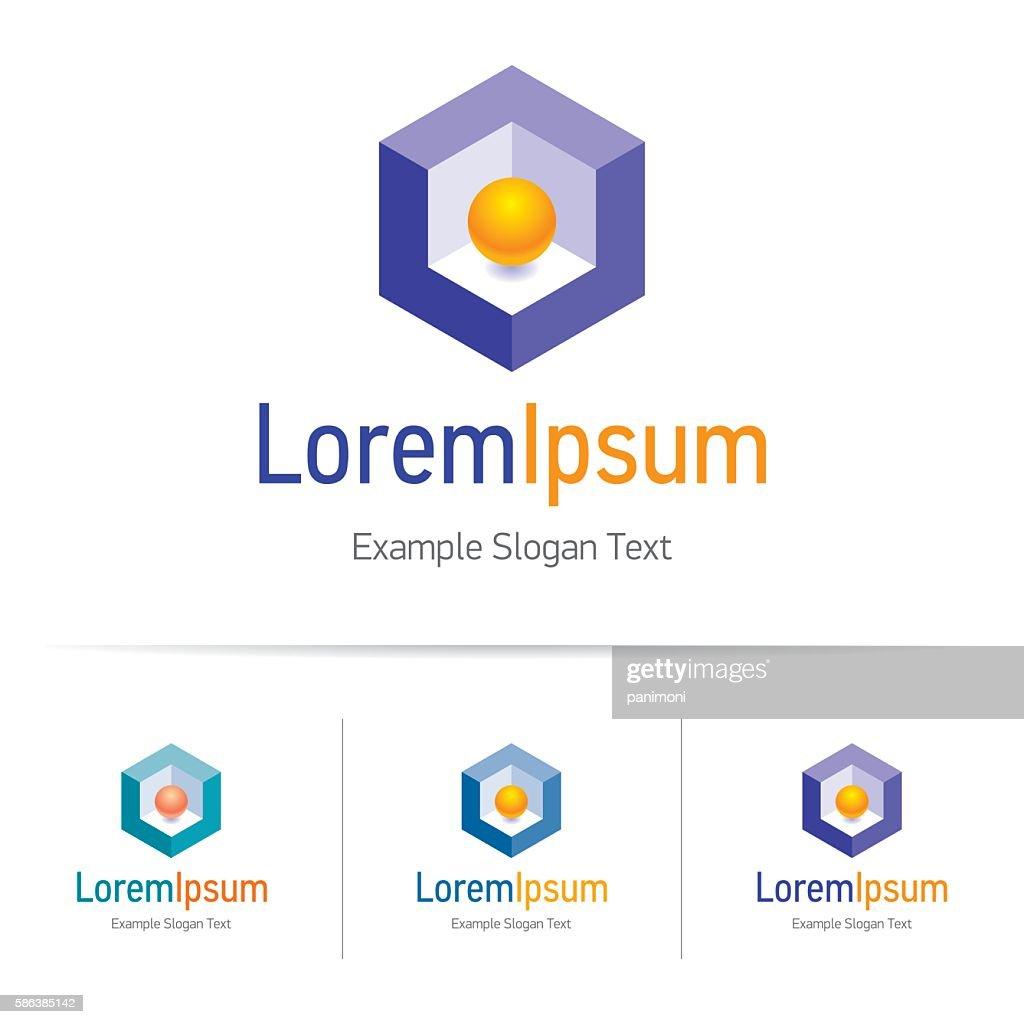 Orange sphere in purple cube, geometric logo