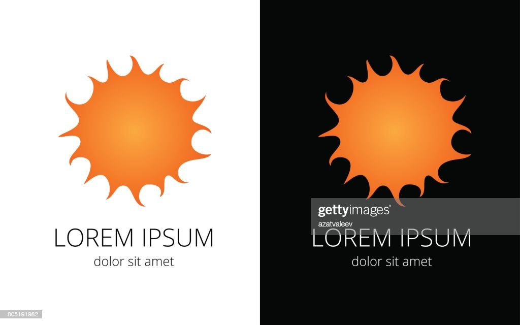 Orange sun on black and white background