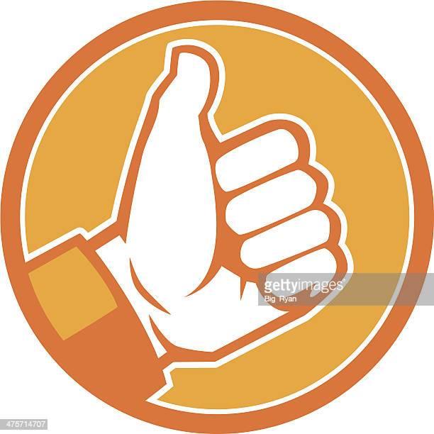 ilustrações, clipart, desenhos animados e ícones de orange os polegares para cima do ícone - sinal afirmativo