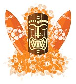Orange tiki mask with surf boards