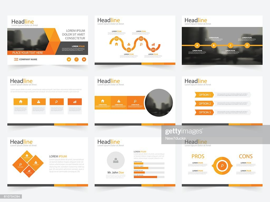 Orange triangle presentation templates Infographic elements template flat design set