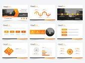 Orange triangle presentation templates Infographic elements template flat design set