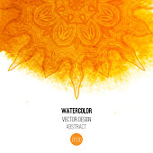 Orange watercolor brush wash with pattern - round doodle tribal