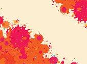 Orange watercolor paint splashes frame