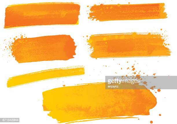 orange aquarellfarbe striche - orange farbe stock-grafiken, -clipart, -cartoons und -symbole