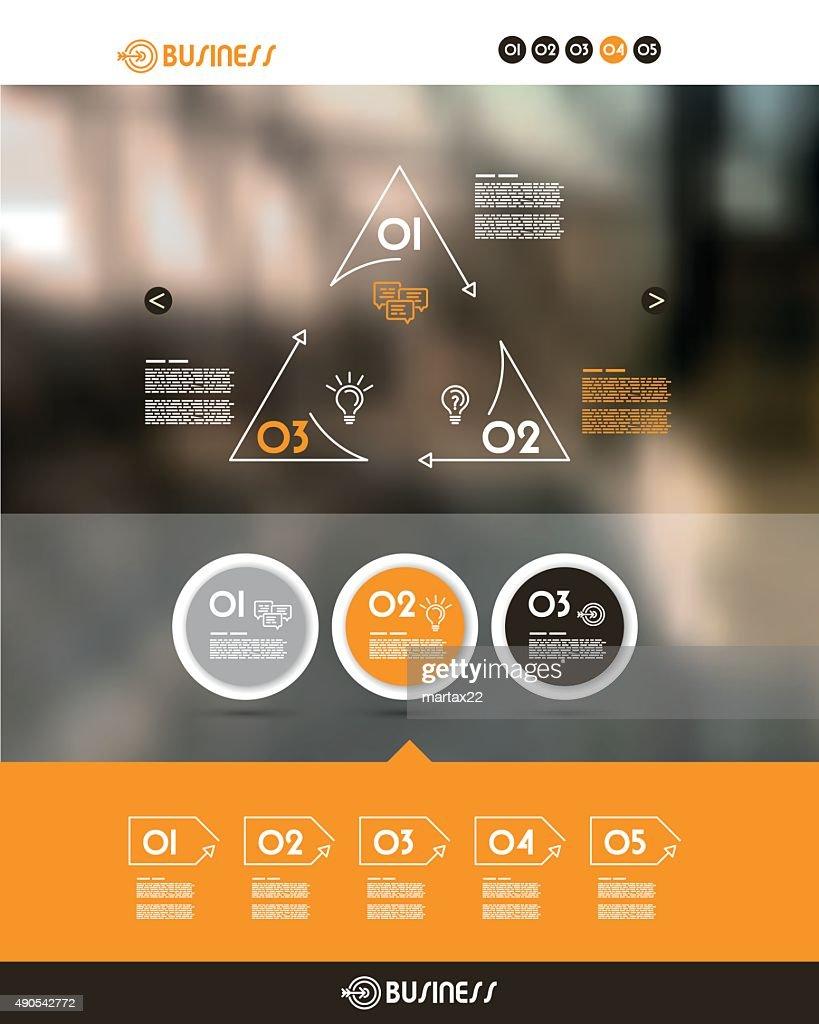 orange website template with three circles