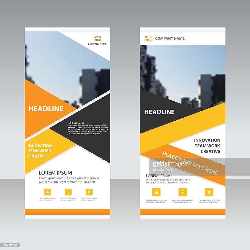 Orange yellow Business Roll Up Banner flat design template