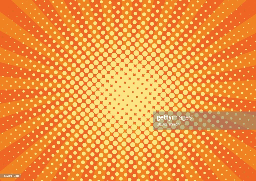 Orange, yelow rays and dots pop art background. retro vector illustration drawing for design