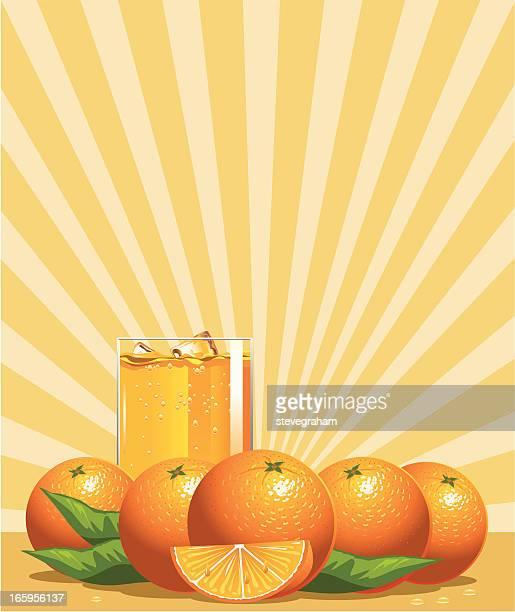 oranges and glass of juice - orange juice stock illustrations, clip art, cartoons, & icons