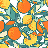 Oranges and lemons vector summer seamless pattern. Citrus tropical background