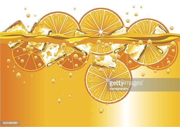 oranges slices and ice cubes - orange juice stock illustrations, clip art, cartoons, & icons
