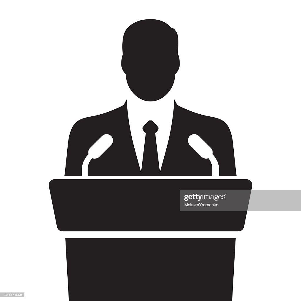 orator speaking from tribune vector illustration