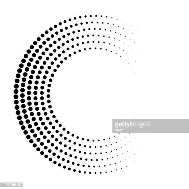 orbital dots, horizontal size gradient and sticky colors on black. - concentric stock illustrations