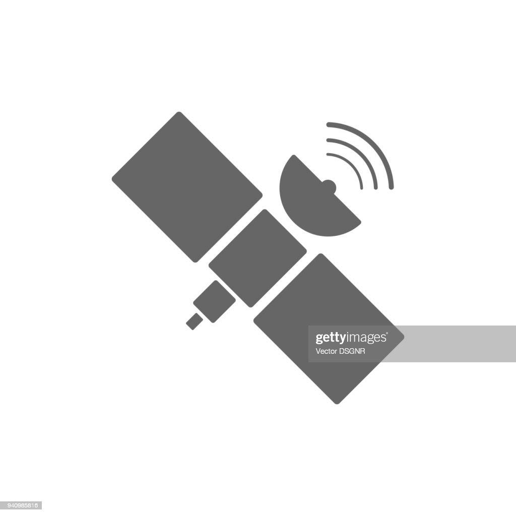 Orbital space satellite. GPS button. Vector
