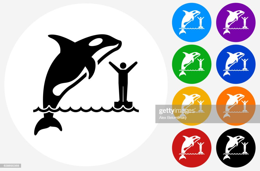 Orca Icon on Flat Color Circle Buttons : stock illustration