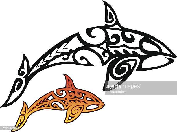 orca whale tribal - killer whale stock illustrations, clip art, cartoons, & icons