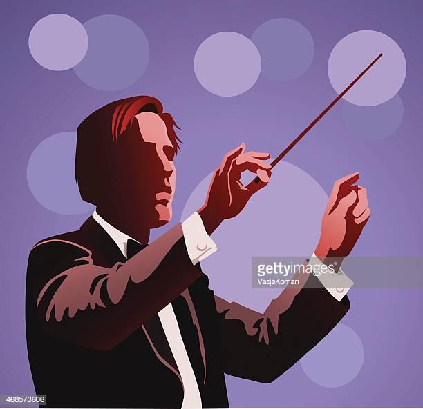 ilustraciones, imágenes clip art, dibujos animados e iconos de stock de orquesta realiza conductor - director de orquesta