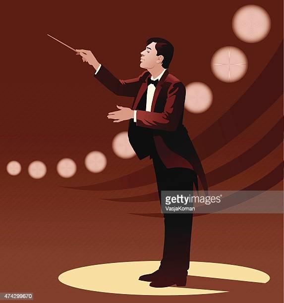 ilustraciones, imágenes clip art, dibujos animados e iconos de stock de orquesta conductor en luces de escenario - director de orquesta