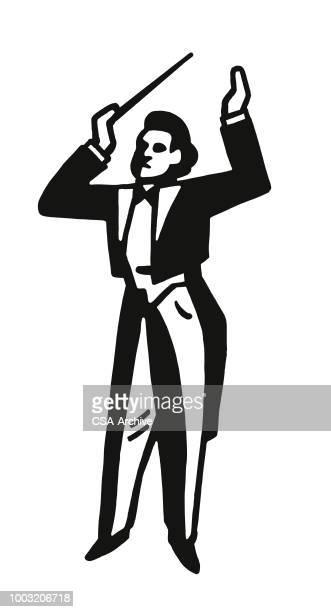 ilustraciones, imágenes clip art, dibujos animados e iconos de stock de conductor de orquesta - director de orquesta